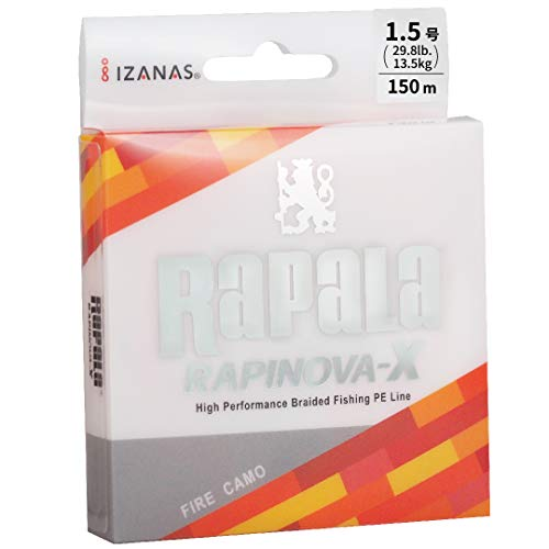 ラパラ PEライン ラピノヴァX カモパターン 150m 1.5号 29.8lb 4本編み ファイヤカモ RLX150M15FC