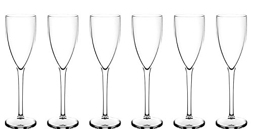 Lot de 6 flûtes à champagne Premium () en polycarbonate ressemble verre véritable, mais en plastique incassable. Idéal pour les pique-niques, sur la plage, piscine, barbecue, en extérieur, jardin. Lavable en machine et réutilisable. Passe au lave-vaisselle