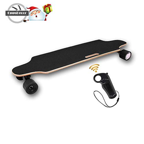 OppsDecor Electric Skateboard with Wireless Remote Control, 7 Layers Maple Longboard, 20Km/h Top Speed, 10 Miles Range (US Stock)
