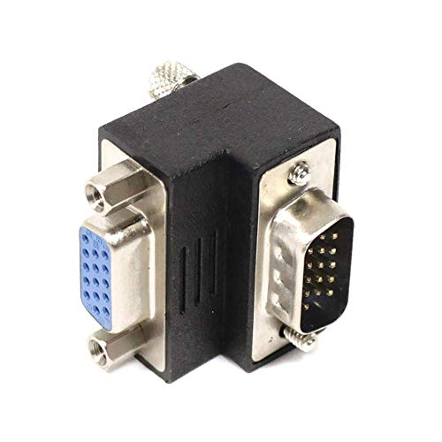 BeMatik - Adaptador VGA acodado derecha HD15 macho hembra