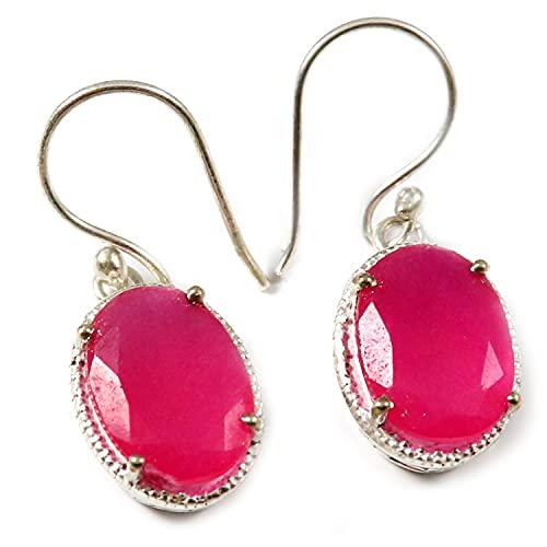 Goyal Crafts trató cuarzo rosa facetado plata pendiente de piedra natural joyería GGTER14J