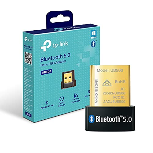 【Nuevo】 TP-Link UB500 - Adaptador Bluetooth 5.0 USB, Tamaño Mini para Ordenador, portatil, Auriculares, Altavoz, Teclado, Compatible con Windows 10/8.1/7