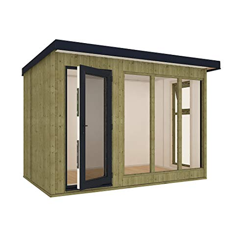 10ft x 6ft Insulated 13mm Pressure Treated My Den Garden Office Garden Shed with Double Glazed UPVC Window - Single Door