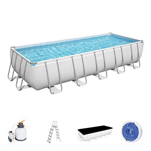 Power Steel Frame Pool Komplett-Set, eckig, mit Sandfilteranlage, Sicherheitsleiter & Abdeckplane 640 x 274 x 132 cm