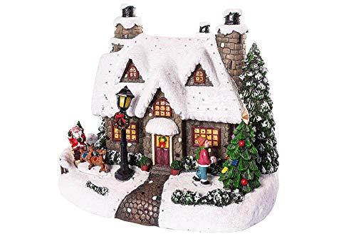 Hotex Spieluhr, mit LED beleuchtet, 24,0x17,5x19cm, ohne Batterien, Haus mit Winterlandschaft, ohne Musik, Weihnachtshaus