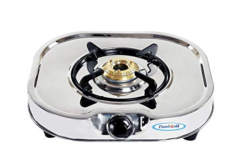 Flamingold 1 Burner Steel Gas Stove Single Chulha Heavy Duty Rust Proof Body Brass Burner
