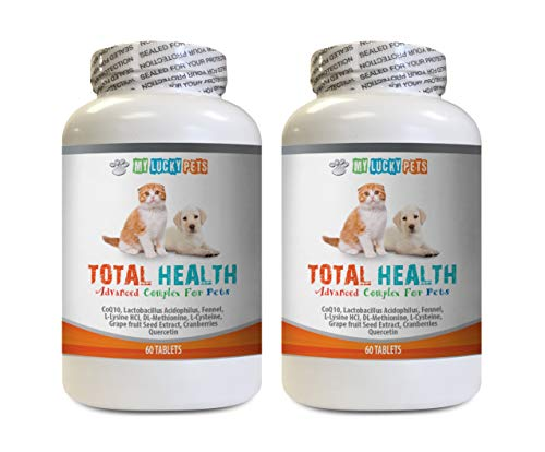 Dog Coat Treats - Pets Total Health Complex - Dogs and Cats - Best Hair Skin Eye Teeth Nail Urinary Support - Dog Immune System Supplements - 2 Bottles (120 Tablets)