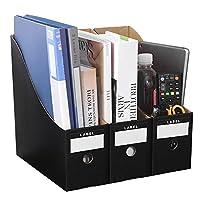 ファイルボックス 書類収納ケース 書棚 組み立て式 縦置き 大容量 丈夫 オフィス 事務用品 文具 雑誌 小物収納 学生 家用 3個組 張り紙付き クラッブ