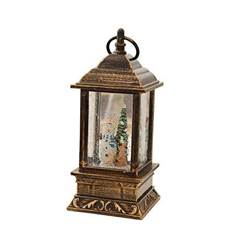SLHP Kleine Laterne Vintage Orientalische Goldene Garten Deko Lampe Nachtlicht Hochzeitsdeko Valentinstag Geschenk Schneemann Weihnachtsmann Dekoration Weihnachten Laterne (B)