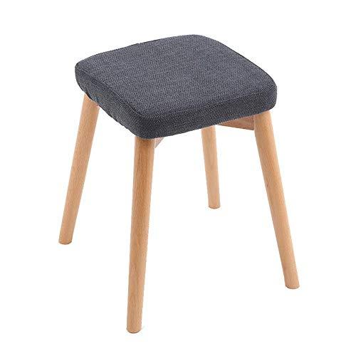 Stapelbarer Esszimmerstuhl aus Holz Wohnzimmer Schminktisch Make-up Sitz Stuhl Hocker Gepolstertes weiches Kissen mit abnehmbarem Leinenbezug Marineblau