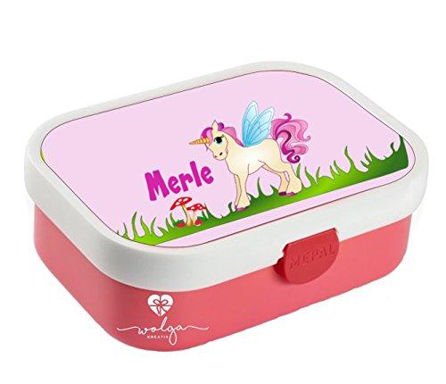 wolga-kreativ Brotdose Lunchbox Bento Box Kinder Einhorn rosa mit Namen Rosti Mepal Obsteinsatz für Mädchen personalisiert Brotbüchse Brotdosen Kindergarten Schule Schultüte füllen