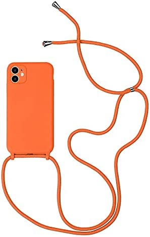 Blaspins Compatible with iPhone 12 Mini Phone Case, Crossbody Strap Belt & Adjustable Rope Neck Lanyard Protective Cover, Detachable Lanyard Hands Free Cover 5.4-inch (12 Mini) - Orange