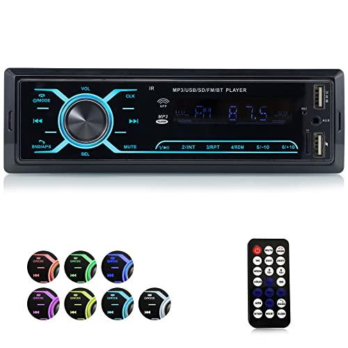 iFreGo Autoradio mit Bluetooth Freisprecheinrichtung Autoradio MP3-Player/FM-Radio USB-Unterstützung für die Wiedergabe von Musik FM/TF-Media-Player 7 Beleuchtungsfarben 1 Din Autoradio Bluetooth