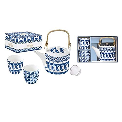 EASY LIFE Tetera + 2 vasos de porcelana Geometric Blue 600 ml + 160 ml