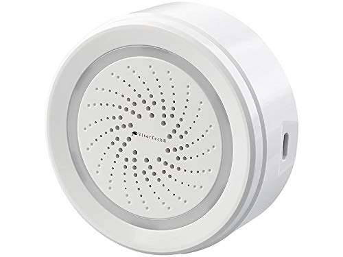 VisorTech WiFi Sirene: WLAN-Alarm-Sirene mit App, für Alexa, Siri & Google Assistant (Sirene Elesion)