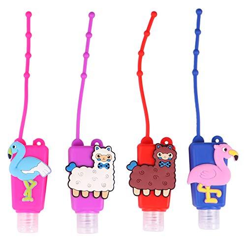 UPKOCH 4 Stücke Kinder Reiseflaschen Schlüsselanhänger 30ml Silikon Flip Cap Flasche Flamingo Alpaka Leere Seifenspender Auslaufsicher Nachfüllbare Duschgel Reisebehälter für Handgel Shampoo