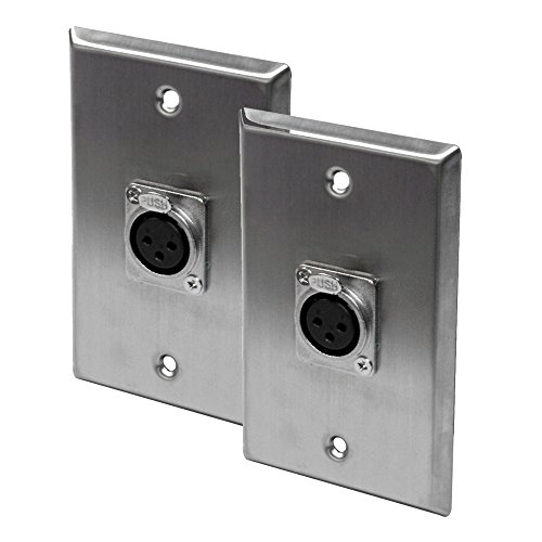 Seismic Audio - SA-PLATE12-2Pack - Pair of Stainless Steel Wall Plates - One XLR Female Connector Single Gang