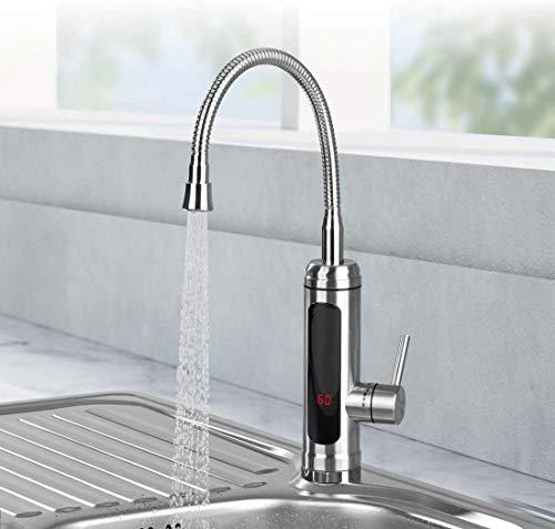 Warm- & Kaltwasserarmatur,Elektrische Wasserhahn, 3000W Durchlauferhitzer Armatur Spültisch LED Temperaturanzeige Heizung Wasserhahn 360° Drehbar, Für Küche Und Bad