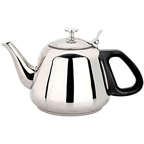 ESGT Stainless Steel Teapot, Silver Kettle with Removable Filter, Suitable for Loose Tea and Coffee, Conference Rooms