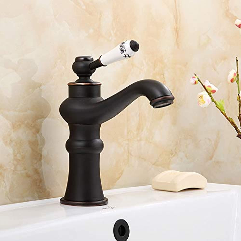 MQQ Antike alle Kupferhahn Keramik heien und kalten Waschbecken Wasserhahn (Farbe   Schwarz)