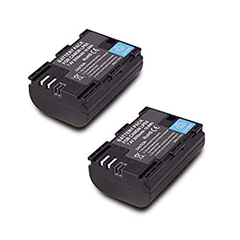 2 Pack Replacement Canon LP-E6 LP E6N Battery for Canon 60D 70D 80D 5DS R 5D Mark II III IV 6D 7D C700 XC15 Cameras  2650mAh 100% Compatible with Original