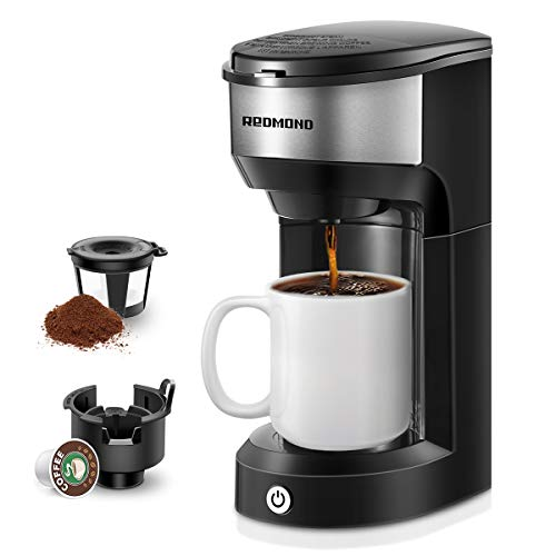 REDMOND Single Cup Coffee Maker Brewer, Compatible With Single Serve Pod & Grounds, 1000W, 6 to 14 OZ Brew Sizes, 90s Fast Brewing, One Button Operation, Black, CM001