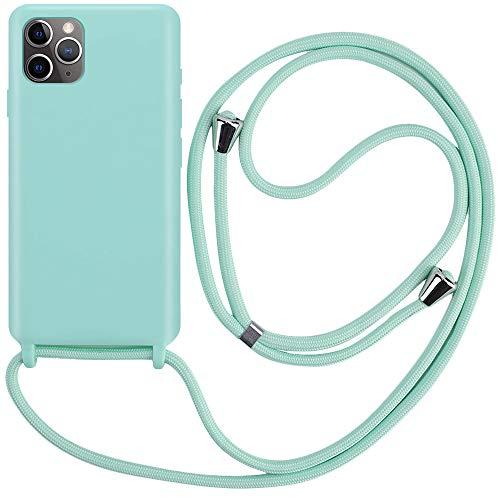CLM-Tech Handykette kompatibel mit Apple iPhone 11 Pro (5.8 Zoll) - Hülle mit Kordel zum Umhängen - Silikon Schutzhülle mit Band Schnur, mintgrün