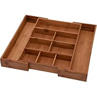 Bamboo Expandable Junk Drawer Organizer Tray