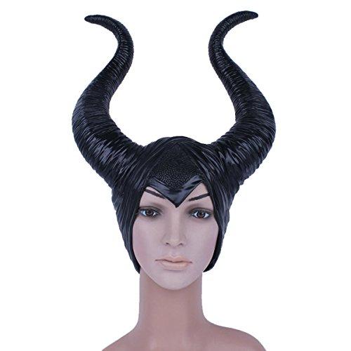 Maleficent with Witch Horns Máscara de bruja negra - Perfecto para carnaval, carnaval y Halloween - Disfraz de adulto - Látex, unisexo Talla única