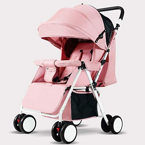 KHUY Légère Pram Voyage Poussette Poussette Carry Bag eith Rain Cover Rainer Couverture Recliner, bébé Landau, siège de Voiture, Poussette (Color : Light Pink)