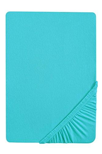 biberna 0077144 Spannbetttuch Feinjersey (Matratzenhöhe max. 22 cm), gekämmte Baumwolle, superweich 1x 90x190 cm > 100x200 cm türkis