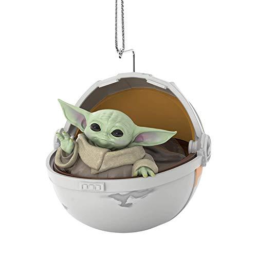 Christbaumschmuck, mandalorianisches Baby Yoda 3d Weihnachtsbaumdekorationsschmuck Kostbare Harzschmuckstücke im schwebenden Kinderwagen Sternfigur Offizielles niedliches kreatives Geschenkspielzeug