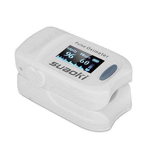 Suaoki - Pulsioxímetro de Dedo Oxímetro Pulsómetro Digital (Pantalla LED, Medidor de Sangre...