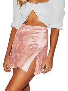 LYANER Women s Elegant Jacquard Side Split Slit Zipper High Waist Mini Short Skirt Pink Medium