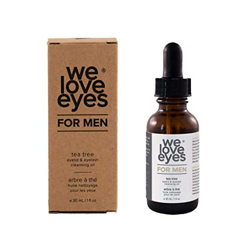 All Natural Tea Tree Eyelid Cleansing Oil for Men - We Love Eyes - Men's Eye Cleanser - Blepharitis, Demodex, Dry Eyes Symptoms Relief, Eco Friendly, Reduce Itching & Inflammation, Chemical Free -30ml