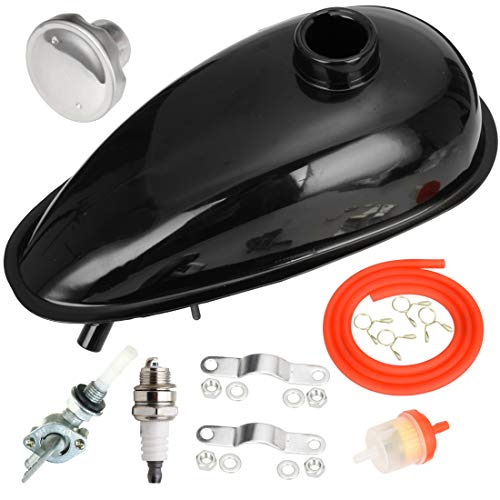 FVRITO Metal 2L 0.53 gallons Gas Fuel Tank with Cap Spark Plug Petcock for 2 stroke 49cc 60cc 66cc 80cc Engines Motorized Bicycle Motor Bikes