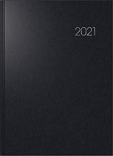 BRUNNEN 1078760901 Buchkalender Modell 787, A 4, 1 Seite = 1 Tag, 21,0 x 29,7 cm, Balacron-Einband schwarz, Kalendarium 2021