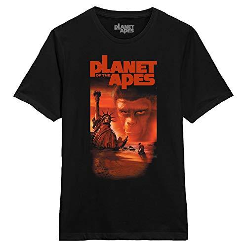 La planète des singes T-Shirt Homme Affiche de cinéma Classique 1968 Coton Noir - XL