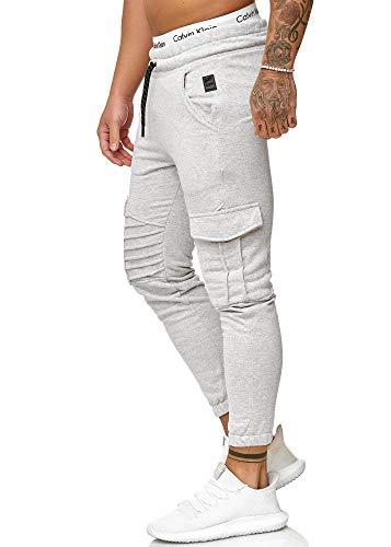 OneRedox Herren Jogging Hose Jogger Streetwear Sporthose Modell 1214 Grau L