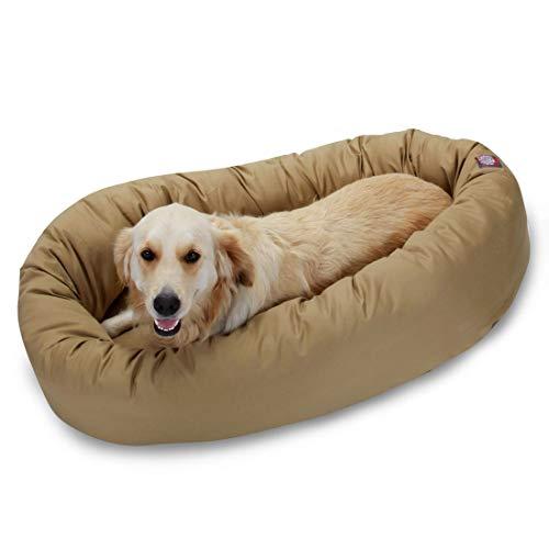 Majestic Pet Solid Poly/Cotton Bagel Dog Bed Machine Washable Khaki Large 40u0022 x 29u0022 x 9u0022