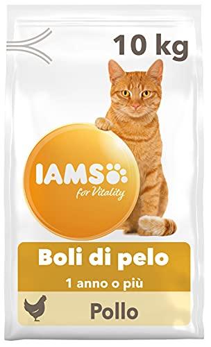 IAMS for Vitality Boli di Pelo - Alimento Secco con Pollo Fresco per Gatti Adulti e Anziani (1 Anno o Più), 10 kg