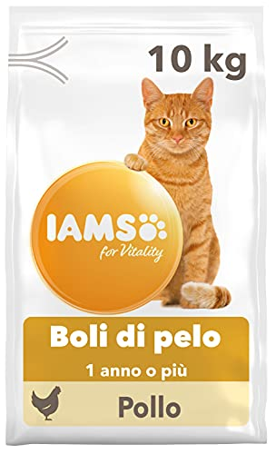 IAMS for Vitality Hairball Control, Alimento Secco contro i Boli di Pelo per Gatti Adulti e Anziani con Pollo Fresco - 10 kg
