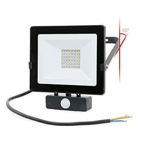 30W LED-spot met bewegingsdetector, IP 54 waterdichte gehard glazen wandlamp met 0,5 m kabel, 2400LM 4000K schijnwerper voor tuin, garage, sportveld, fabriek en hotel
