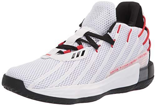 adidas Unisex Dame 7 Basketball Shoes, White/Black/Scarlet, 9.5 US Men