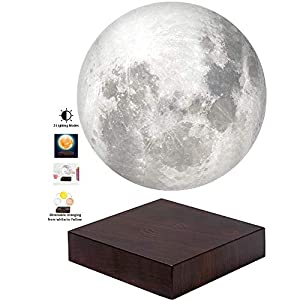 VGAzer Moon Lamp 3D Printing Magnetic Levitating Moon Light Lamps for Home、Office Decor, Creative Gift-6 Inch,Has 3 Colors Modes(YE,WH,Change from WH to YE)