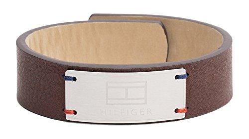 Tommy Hilfiger Jewelry Herren-Armband Men's Casual, Edelstahl IP Silber, Leder Braun 21.6 cm - 2700673