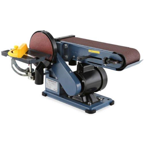EBERTH 375W Levigatrice a nastro e disco (150 mm Diametro Piastra, Supporto per attrezzi regolabile, Piedini antivibranti)