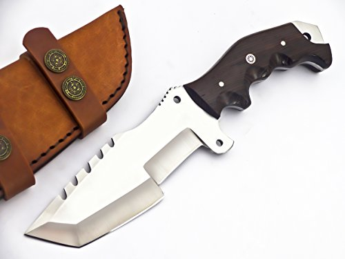 TR-2149- CUSTOM HANDMADE D2 TRACKER KNIFE- BLACK MICARTA HANDLE