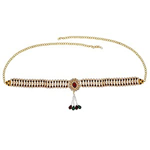 Memoir Brass Gold plated, Colourful crystal, Faux Ruby stones and drops studded, elegant Stylish Oval shaped design Traditional Waistbelt, Kamarpatta, Kamar bandh Women Traditional Wedding jewellery Women