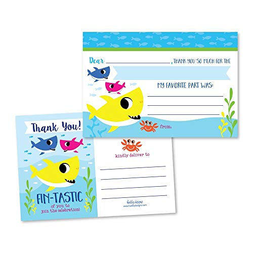 25 Baby Shark Pool Party Fill In The Blank Kids Thank You Cards, Beach Ocean Fish Themed Summer Bday Party Notes, Adult or Children Birthday, Dance Under the Sea Creatures Supplies, Jawsome Ideas